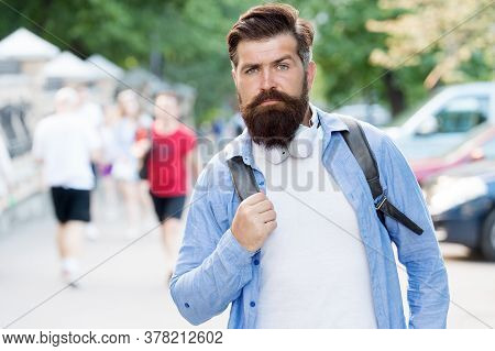 Born To Be Hipster. Brutal Hipster Travel Urban Outdoors. Bearded Man With Hipster Beard. Casual Sty