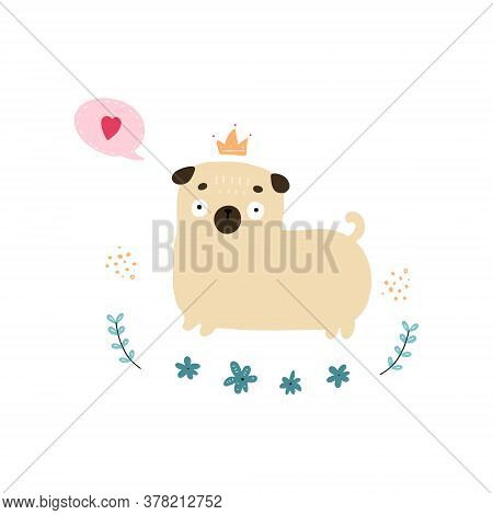 Illustration Of Cartoon Colorful Pug On White Background. Hand Drawn Doodle Little Doggie For Childr