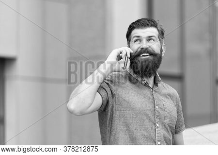 Call Taxi. Mobile Communication. Got It. Business Conversation. Man With Smartphone. Stylish Handsom