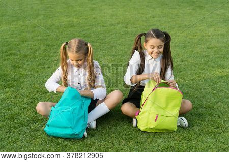 Group Study Outdoors Girls Classmates With Backpacks, Unpacking Backpack Concept.