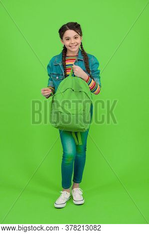 For The Wanderlust In You. Happy Kid Hold Backpack Green Background. Traveling And Wanderlust. Wande