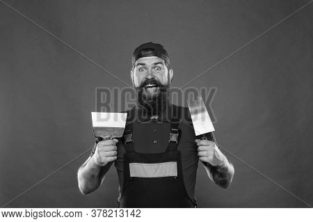 Plasterer Hipster Builder In Cap Red Background. Interior Designer. Professional Plasterer. Skillful