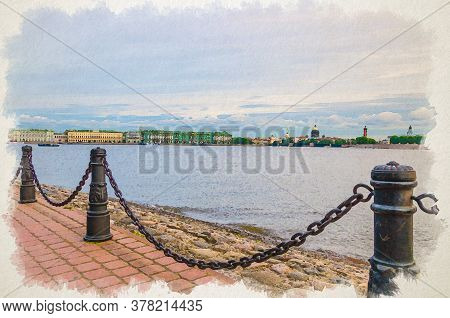 Watercolor Drawing Of Promenade Of Zayachy Hare Island With Fencing Chain Posts, Neva River, Citysca