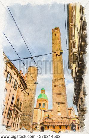 Watercolor Drawing Of Two Medieval Towers Of Bologna Le Due Torri: Asinelli And Garisenda And Chiesa