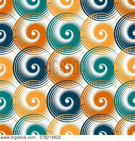 Spiral Swirls Creative Seamless Pattern Vector Design. Round Spiral Scrolls, Circle Swirls Geometric
