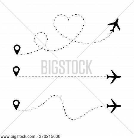 Airplane Doted Line Path Set. Travel Concept. Vector Eps 10