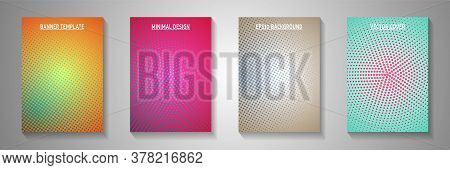 Decorative Dot Perforated Halftone Cover Templates Vector Set. Corporate Booklet Faded Halftone Back