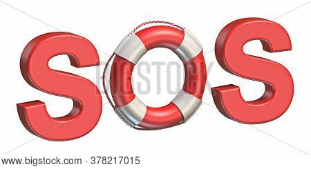 Lifebuoy Sos Sign 3d Render Illustration Isolated On White Background