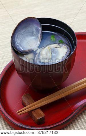big sizer japanese basket clams soup, japanese food