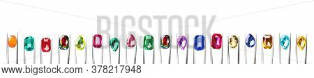 Set Of Tweezers With Different Shiny Gemstones On White Background. Banner Design