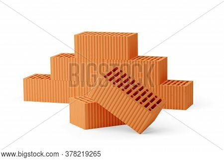 Stack Of Red Brick Stones  With Two Single Bricks In Front Over White Background, Architecture, Cons