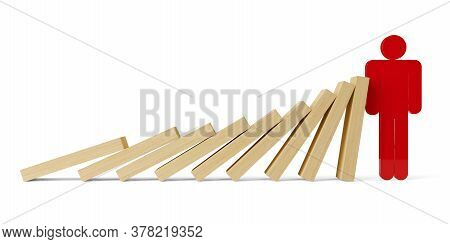 Row Of Falling Wooden Domino Stones Stopped By Red Figure Over White Background, Risk Management, In