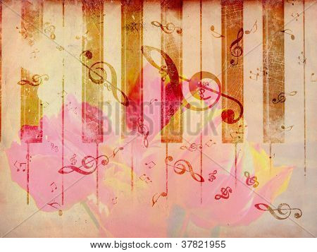 Vintage Background With Tulip And Notes