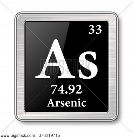 Arsenic Symbol.chemical Element Of The Periodic Table On A Glossy Black Background In A Silver Frame