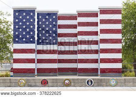 Lima - Circa July 2020: Veterans Freedom Flag Monument Next To The Jsmc. Uaw Local 2075 Veterans Com