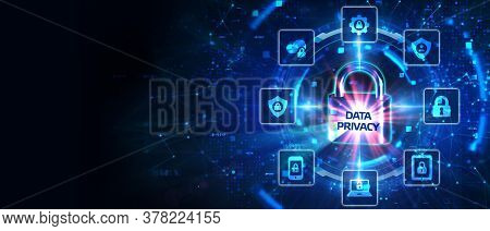 Cyber Security Data Protection Business Technology Privacy Concept. Data Privacy On The Virtual Disp