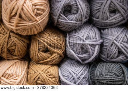 The Texture Of Multi-colored Fluffy Woolen Threads For Knitting Closeup.