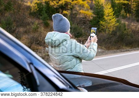 Adult Woman Traveler Photographing With Phone Beautiful Autumn Landscape. Happy Tourist Travelling I