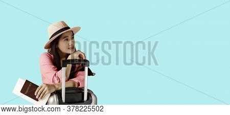Asian Women Long Hair Wear Straw Hat In Hand Holding Passport Book And Sunglasses  With Travel Bag C