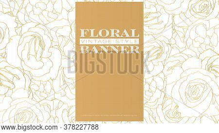 Pattern From Roses Buds. Flower Buds In Outline Style. Vintage Vector Background.