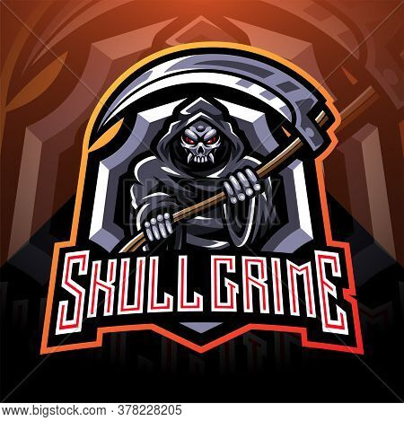 Skull Grime Esport Mascot Logo With Text