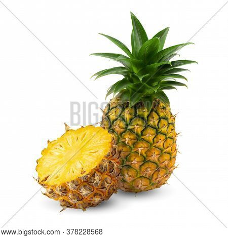 Ripe Pineapple Is Tropical Fruit Isolated On White Background.