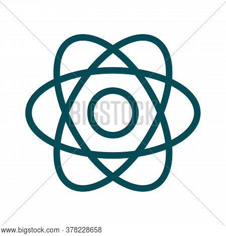 Atom Icon Thin Line For Web And Mobile, Modern Minimalistic Flat Design. Vector Dark Grey Icon On Li