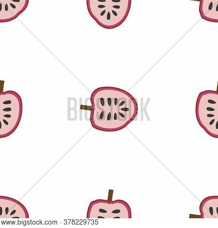 Annona, Red Custard Apple. Seamless Vector Patterns On White Background