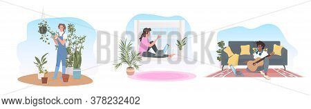 Set Woman Using Laptop Taking Care Of Houseplants Man Learning To Play Guitar Stay Home Concept Full