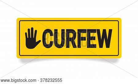 Curfew Sign No Entry Hand Stop Sign Gesture Horizontal Vector Illustration