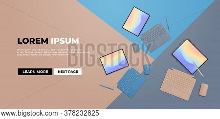 Modern Tablet Computer With Keyboard Mouse Stylus And Colored Screen Realistic Mockup Gadgets And De