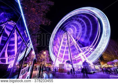 Granada, Andalusia, Spain. December 30th, 2019. Ferris Wheel At Night.