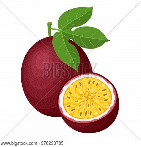 Fresh Bright Exotic Whole And Half Passion Fruits Isolated On White Background. Summer Fruits For He