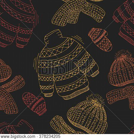 Knitted Doodle Sweaters, Scarves And Hats Of Autumn Red, Yellow And Orange Colors On A Dark Backgrou
