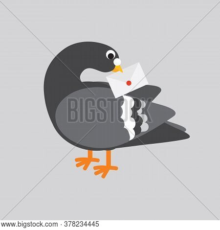 Flat Design Post Pigeon The Use Of Pigeons To Send Information Is A Communication In The Past Concep