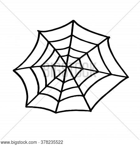 Spider Web Web For Halloween, A Scary, Ghostly, Spooky Element For Design On Halloween. Vector