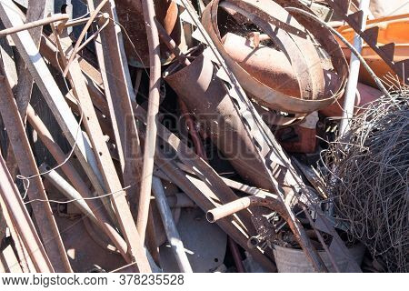 Close-up Of Pile Of Collected Scrap Metal On The Territory Of The Metal Collection Point