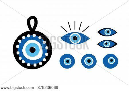 Set, Collection Of Turkish Blue Eye-shaped Amulets, Nazar Amulets, Evil Eye Protection Talismans.