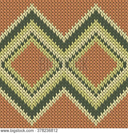 Closeup Rhombus Argyle Knitting Texture Geometric Seamless Pattern. Scarf Knitting Pattern Imitation