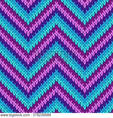 Natural Zigzag Chevron Stripes Christmas Knit Geometric Vector Seamless. Jacquard Knitwear Fabric Pr