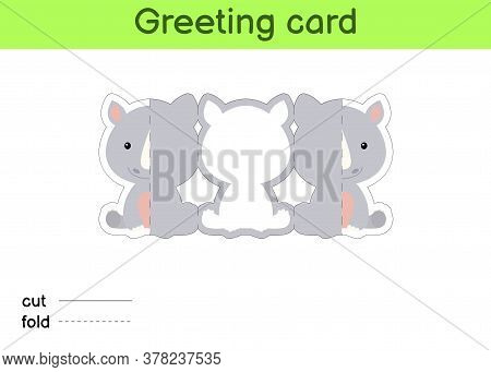 Cute Rhino Fold-a-long Greeting Card Template. Great For Birthdays, Baby Showers, Themed Parties. Pr