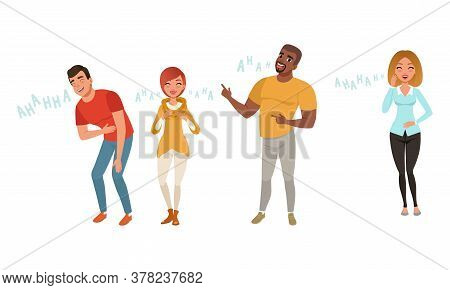 Happy Men And Women Laughing With Positive Humor Set Cartoon Style Vector Illustration