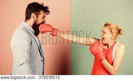 Couple In Love Competing In Boxing. Conflict Concept. Gender Battle. Gender Equal Rights. Family Qua