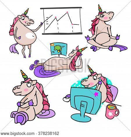 Set Of Unicorns. Unicorns Illustration On White Background