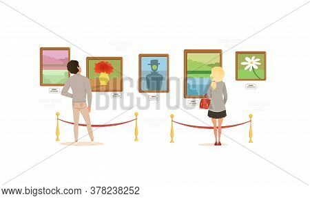 Exhibition Visitors Viewing Paintings On Wall, People Visiting Art Exhibition Gallery Or Museum Cart