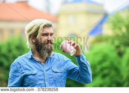 Safety Measures. Personal Cup. Third Wave Coffee. Man With Beard Drinking Coffee. Man Drink Coffee B