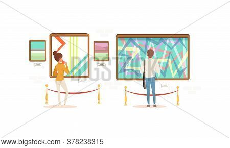 Visitors Viewing Modern Abstract Paintings, People Visiting Modern Art Exhibition Gallery Or Museum
