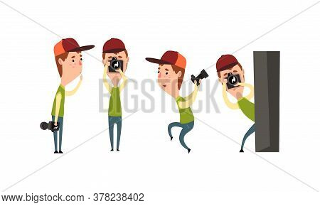 Paparazzi Holding Photo Camera And Photographing Set, Funny Photographer Cartoon Character Taking Ph