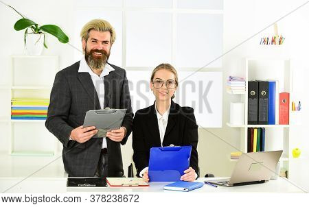 Colleagues Communication. Successful Business. Business Couple Working. Couple Work In Office. Law C