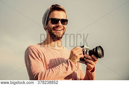 Bring Joy With Every Photo. Macho Man With Camera. Travel With Camera. Male Fashion Style. Looking T
